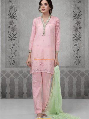 MARIA B Suit Peach DW-2119 Linen Master Replica