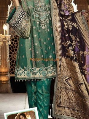 Maria B Luxury Teal & Aubergine (BD-1402) Embroidered Net Collection Replica