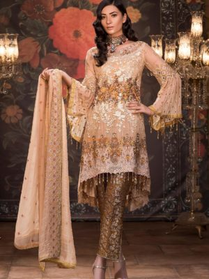 Maryam's Luxury Rustic Gold MP-105 Embroidered Chiffon Collection Replica