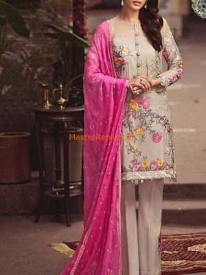 Serene Luxury Pink Lesnuits-03 Embroidered Chiffon Collection Replica