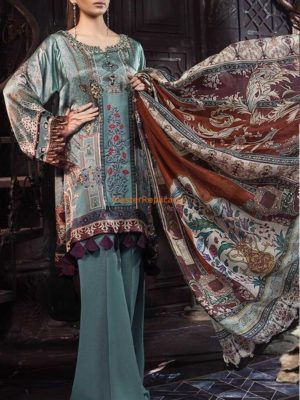 Maria B MSK-206-Grey Blue and Rust Silk Master Replica 2019