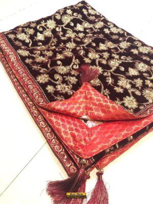Artistic Embroidered Velvet Shawl